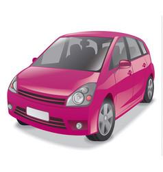Pink hatchback car vector