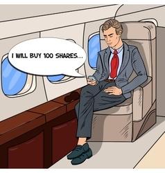 Pop art businessman flying airplane vector