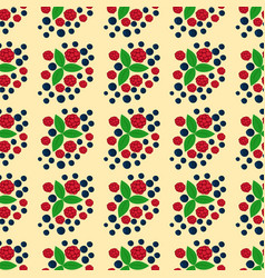 Raspberry seamless pattern fresh berry red ripe vector