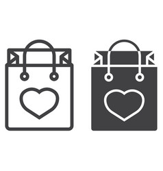 shopping bag with heart line and glyph icon vector image vector image