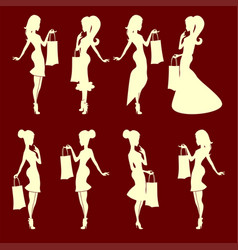 Silhouette of a girl with a bag set vector