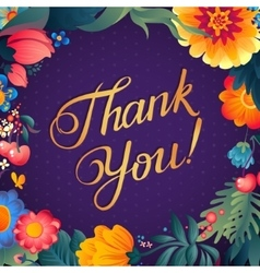 Thank you card in bright colors Stylish floral vector image