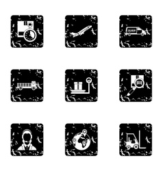 Warehouse icons set grunge style vector