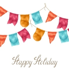 Happy holiday greeting card with garland of flags vector
