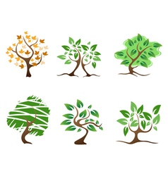 Green abstract tree icon vector