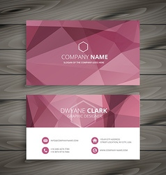 Pink abstract polygonal business card vector
