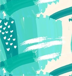 Abstract green with white hearts vector image