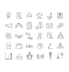 Set flat line icons elections vector