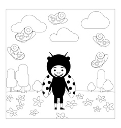 Kid in ladybug dress coloring page vector