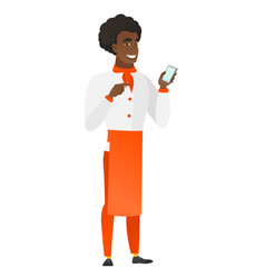 african-american chef cook holding a mobile phone vector image