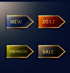Set of four corner tags in golden style vector