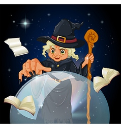 A witch doing a spell vector