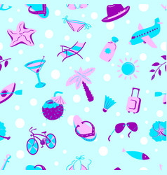 Background with summer and beach objects beach vector