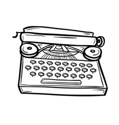 Typewriter in doodle style vector
