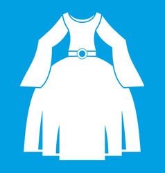 Princess dress icon white vector