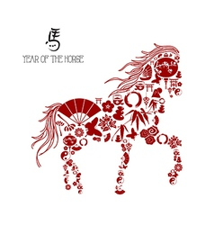 Chinese new year of the horse icons composition vector