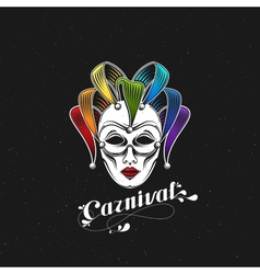 Rainbow carnival mask or jester emblem vector