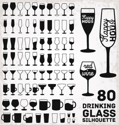 Drinking Glass Silhouettes vector image