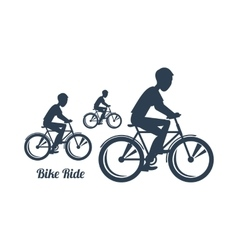 Teenagers riding bicycles silhouettes black icon vector