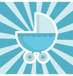 Baby shower stroller icon vector