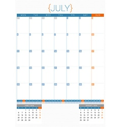 Calendar planner 2016 design template july week vector