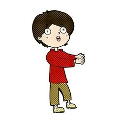 Comic cartoon shocked boy vector