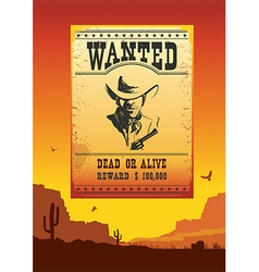 Wanted poster on wild west american desert vector