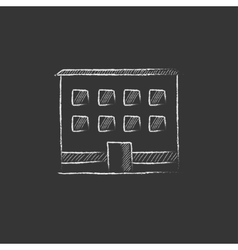 Office building drawn in chalk icon vector