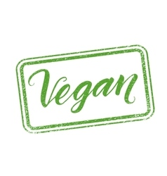 Vegan stamp with hand drawn lettering isolated on vector