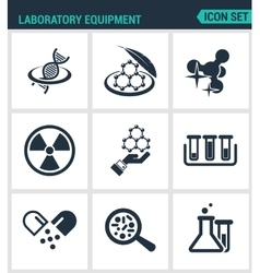 Set modern icons laboratory equipment vector