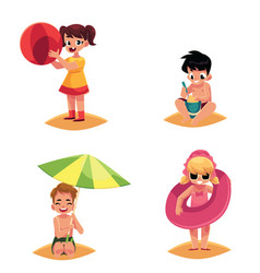 Babies kids children on the beach sea summer vector