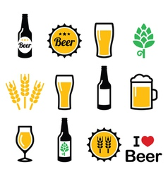 Beer colorful icons set - bottle glass vector image vector image