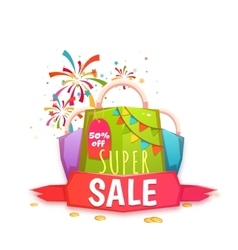 Big sale banner with color packet and ribbon vector image