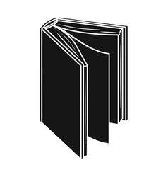 Black standing book icon in black style isolated vector