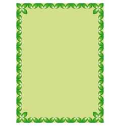 Border with leaves on green background vector image vector image
