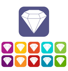 Brilliant gemstone icons set flat vector