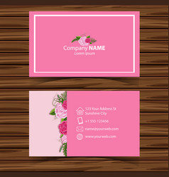 Businesscard template with pink roses in vector