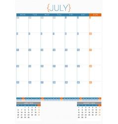 Calendar planner 2016 design template july week vector