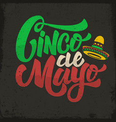 Cinco de mayo hand drawn lettering phrase in vector