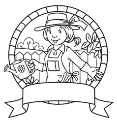 Coloring book of funny woman gardener emblem vector