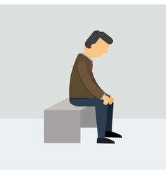 Depressed man sitting on a bench vector image
