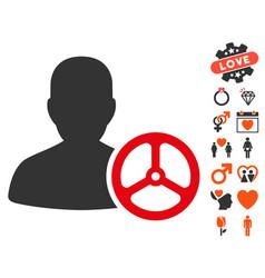 Driver person icon with love bonus vector