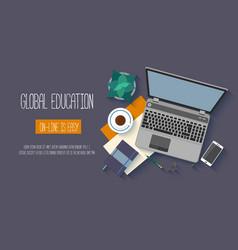 Flat design baners for online education vector