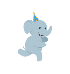 flat elephant character having fun running vector image