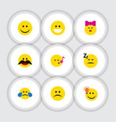 Flat icon face set of joy descant asleep and vector
