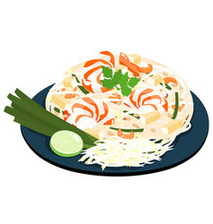 Fried noodles popular thai food vector