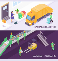 Garbage recycling isometric banners vector