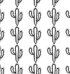 Hand drawn cactus seamless pattern vector image