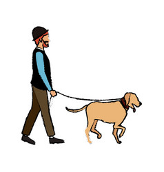 Hipster man character walking with her pet dog vector