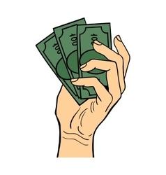 Human hand holding dollar money vector image vector image